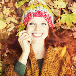 Herbst, Freude, Frau, Lachen, Kraft, Vitalität