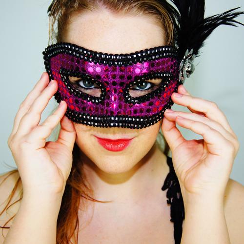Maske, Frau, lila, Fasching
