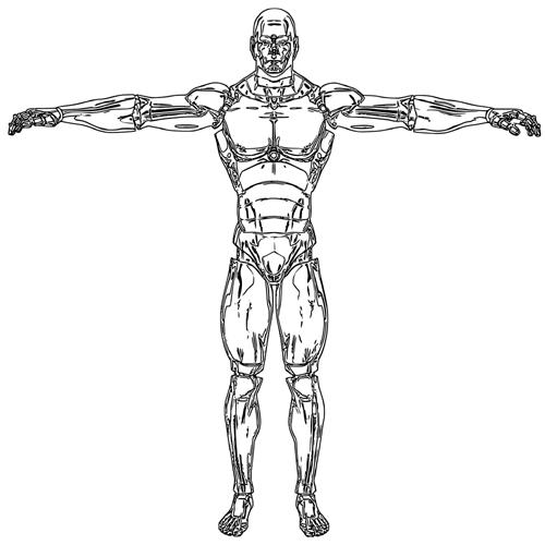 Mann, Roboter, Körperbild, Zeichnung