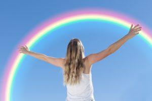 Regenbogen, Himmel, Frau