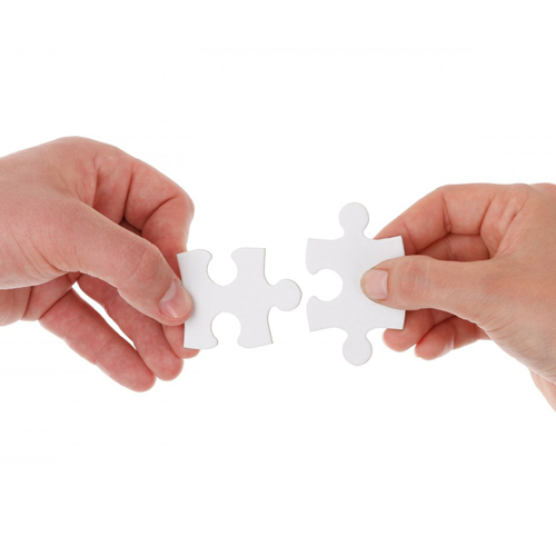 Verbindung, Hand, Puzzle